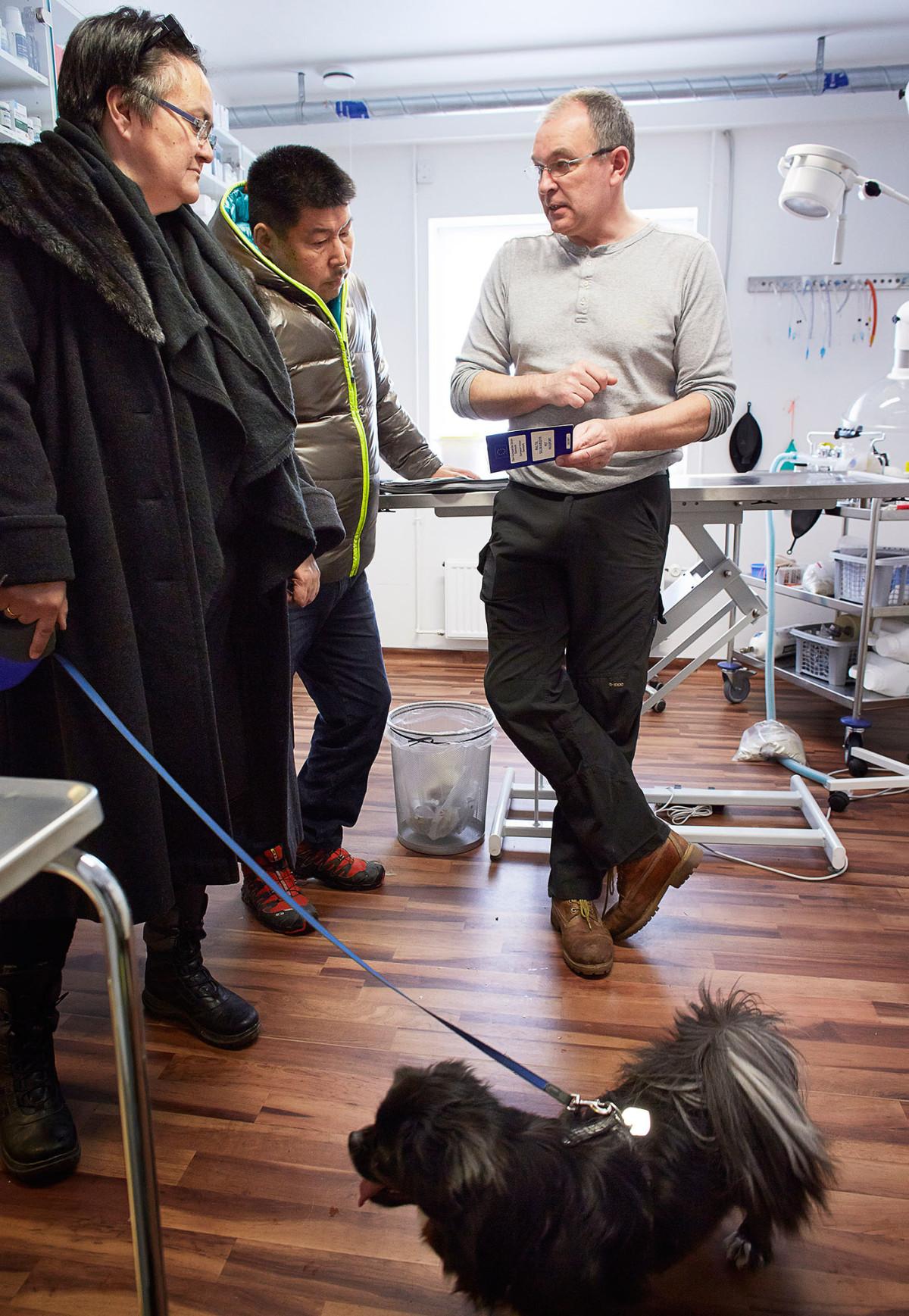 Dyrlæge Jens Eslau, fortæller Birthe og Knud Lynge om vaccinations bogen, mens Mio venter på at blive undersøgt